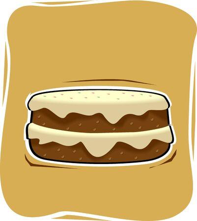 brownish: Illustration of a hamburger in brownish background Stock Photo