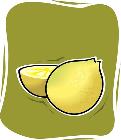 fruitful: Illustration of a ripe and sliced lemon