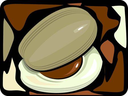 nutmeg:  nut and slice of nutmeg  Stock Photo
