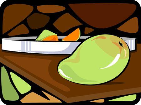 mango slice: ripe mango and slice in a plate