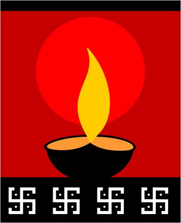 swastika: Illustration of divine pot lamp in red background