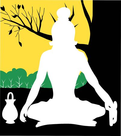 Illustration of a yogi is meditating Stock Illustration - 3849563