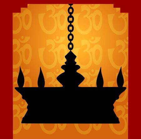 Illustration of hanging golden divine lamp in floral background  illustration