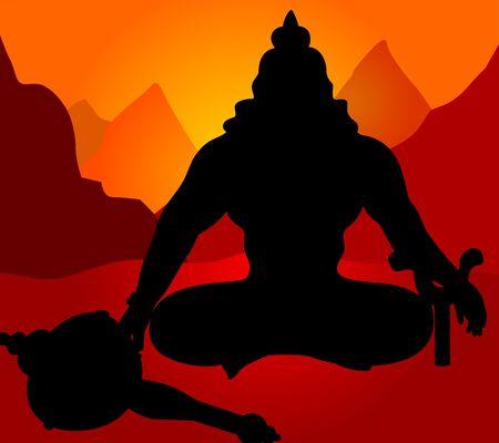 ramayana: Illustration of silhouette of Lord Hanuman