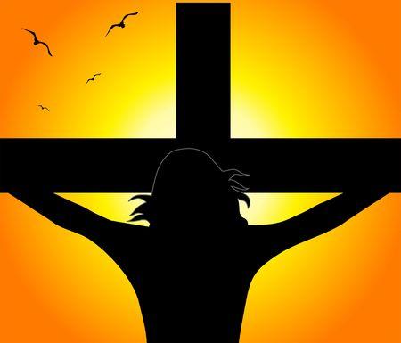 thorns: Illustration of Jesus Christ in cross  Stock Photo