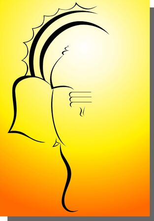 Illustration of lord Ganesha in amber light  Stock Photo