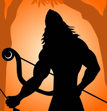ramayana: Illustration of warrior with bow and arrow  Stock Photo