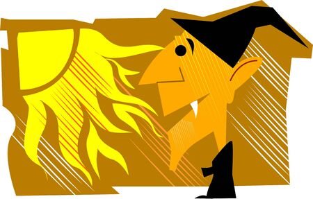 Illustration of a devil and yellow kite  illustration