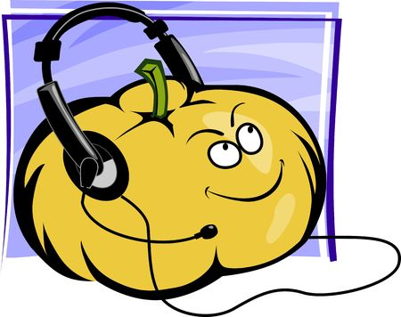 Illustration of a pumpkin and ear phone  illustration