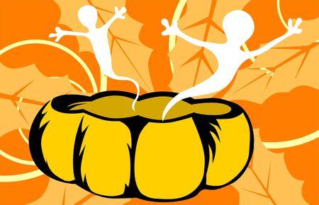 Illustration of devils from pumpkin  illustration