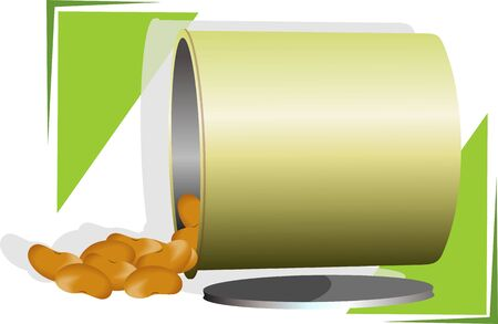 Illustration of nuts in a container