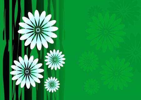 inertial: Illustration of flowers in black and green shade background