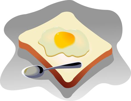 browned: Illustration of bread egg and spoon