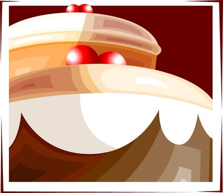 Illustration of a cake with cherry