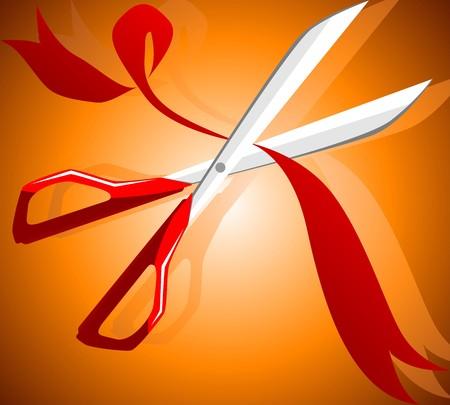 Illustration of a scissors cutting a ribbon  Stock Photo