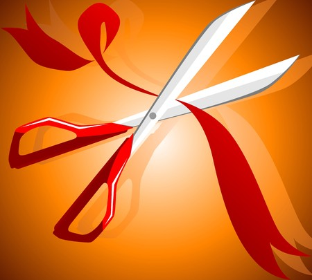 Illustration of a scissors cutting a ribbon Stock Illustration - 3966979