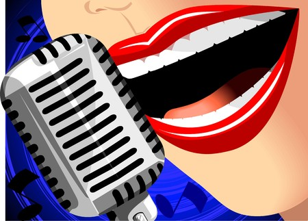 Illustration with mic with girl
