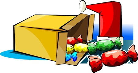 Illustration of a gift box with sweets Stock Illustration - 3966926