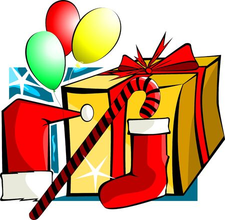 santaclause hat: Illustration of gift box and balloons