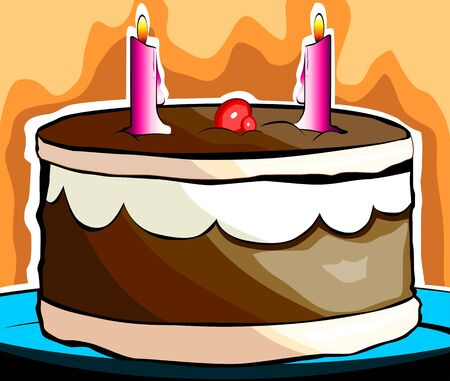 Illustration of a birthday cake with candles Stock Illustration - 3966975