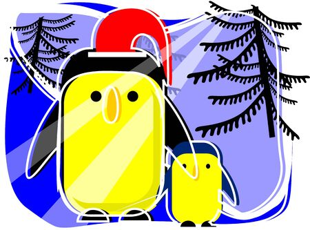 Illustration of penguin celebrating  Christmas  illustration