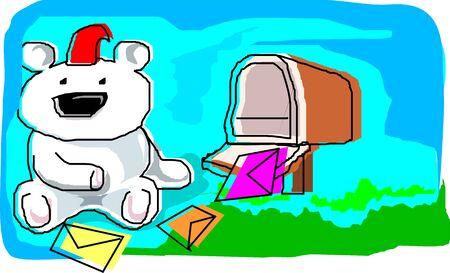 Illustration of doll and gift  illustration