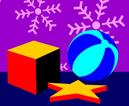 Illustration of ball, star and gift box  illustration