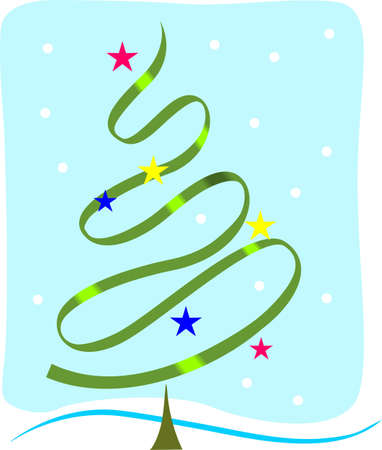 Illustration of a spiral Christmas tree with stars bright,  illustration