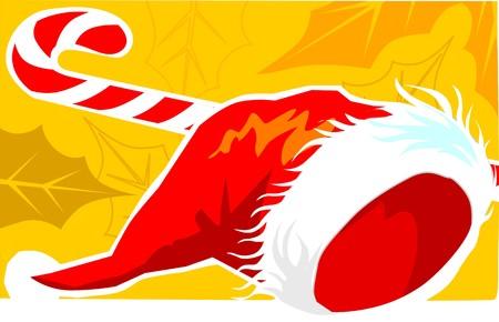 Illustration of Santa clause�s hat and stick  illustration