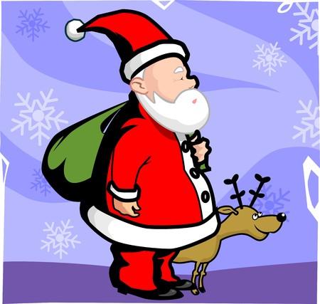 Illustration of Santa clause and antelope  illustration