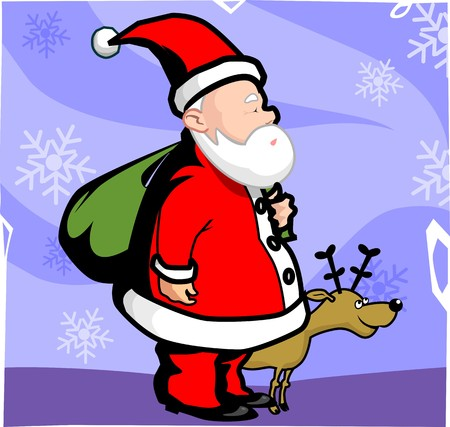 santaclause hat: Illustration of Santa clause and antelope