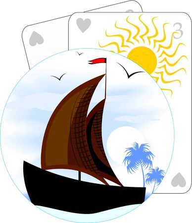 Illustration of a sailing vessel at sea  illustration