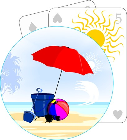 Illustration of a beach with sun shade umbrella and ball illustration