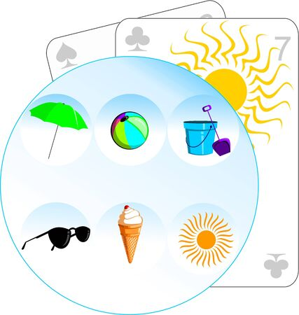 Illustration of playing cards and beach objects in a circle  illustration