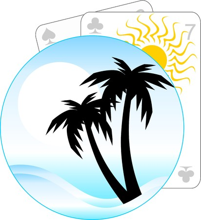 Illustration of playing card and coconut trees  illustration