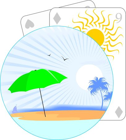 Illustration of playing cards and beach umbrella  illustration