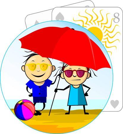 Illustration of a cartoon couple under beach umbrella  illustration