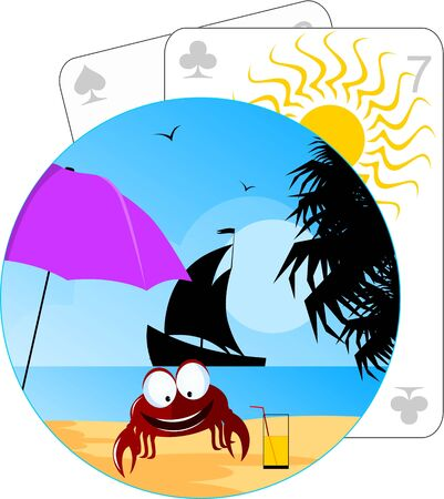 Illustration of crab in a beach  Stock Photo