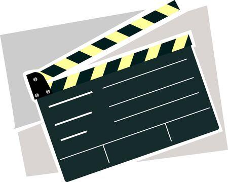 ash: Illustration of film clapper board in a ash colour background  Stock Photo