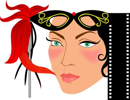 actress: Illustration of film Actress with colour  Stock Photo