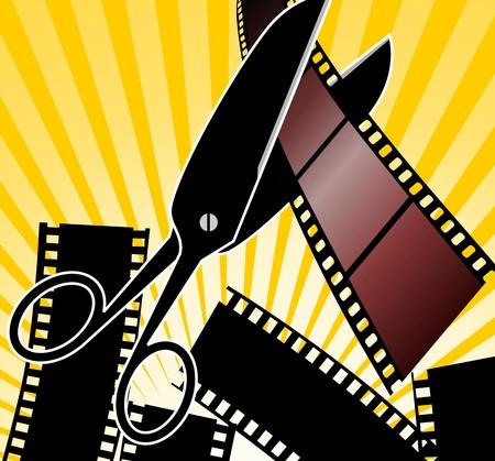 blockbuster: Illustration of Scissors and film