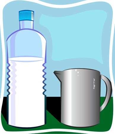 Illustration of glass and bottle of milk