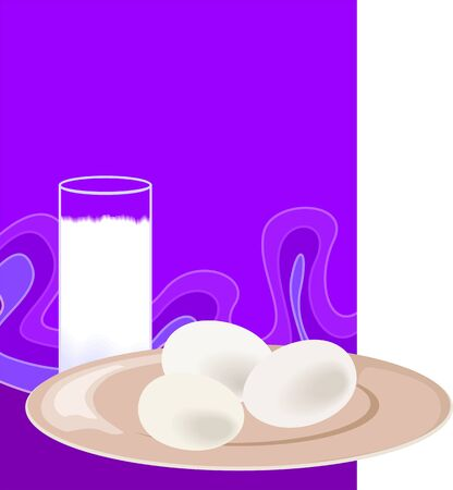 Illustration of a milk and three egg on a plate