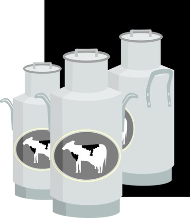 Illustration of three milk can with a black back ground  illustration