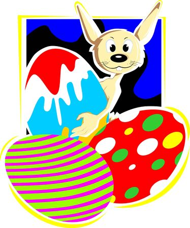 Illustration of cartoon rabbit with  colourful eggs  illustration
