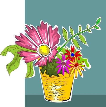 indoor bud: Illustration of flower vase on the floor