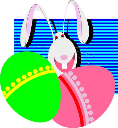 Illustration of cartoon rabbit with decorated Easter eggs  illustration