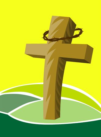 crucification: Illustration of a cross in background of birds