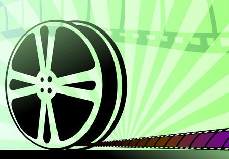 readout: Illustration of cinema projector  and films
