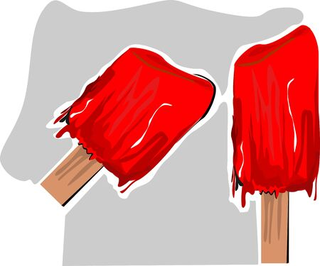 Illustration of red colour ice stick  Imagens